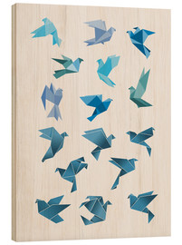 Wood print  Origami Peace Doves