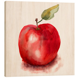 Wood print  Sweet apple watercolor