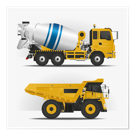 Premium poster Construction sites vehicles