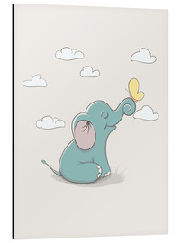 Aluminium print  Little Elephant with Butterfly - Kidz Collection