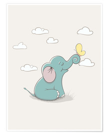 Premium poster Little elephant with butterfly