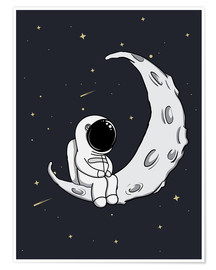 Premium poster  Little man in the moon - Kidz Collection