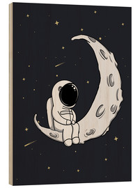 Wood print  Little man on the Moon - Kidz Collection