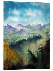 Acrylic glass  Mountain panorama watercolour