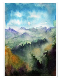 Premium poster Mountain panorama watercolour
