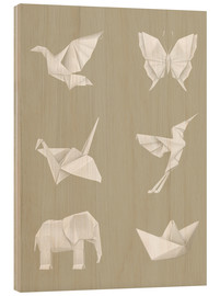 Wood print  Origami paper animals