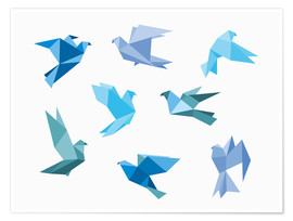 Premium poster  Blue Origami Animals