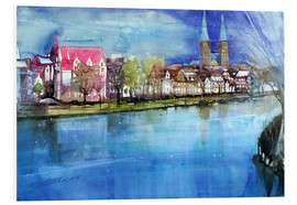 Foam board print  Lübeck, painter angle with cathedral - Johann Pickl
