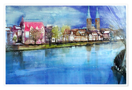 Premium poster Lübeck, painter angle with cathedral