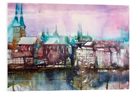 Foam board print  Lübeck, view from the millpond - Johann Pickl