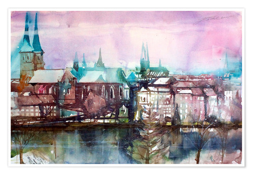 Premium poster Lübeck, view from the millpond