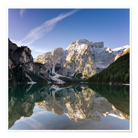 Premium poster Reflection at Lake Prags, Soth Tyrol