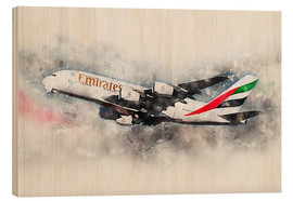 Wood print  Emirates A380 - airpowerart