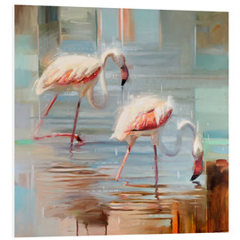 Foam board print  Sardinian flamingos II - Johnny Morant