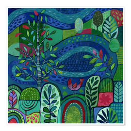 Premium poster  Bird by the Pond - Janet Broxon