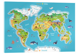 Acrylic print  World map for children (German) - Kidz Collection