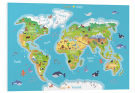 Foam board print  World map for children (German) - Kidz Collection