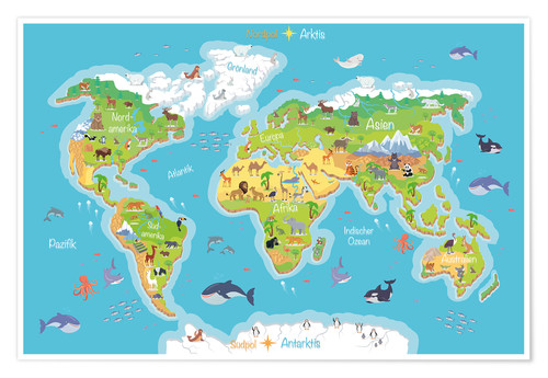 Uk In Map Of World.Premium Poster World Map For Children German