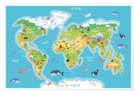 Poster World map for children - German