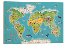 Wood print  World map for children (German) - Kidz Collection