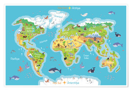 Kidz Collection - World map for children - French