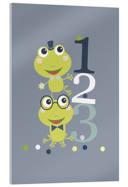 Acrylic print  Frogs playing with numbers - Jaysanstudio