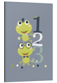 Aluminium print  Frogs playing with numbers - Jaysanstudio