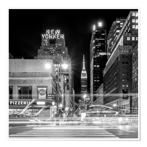 Premium poster Ninth Ave, New Yorker * Empire State Building (monochrome)