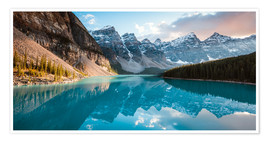 Premium poster Moraine lake panoramic, Banff, Canada