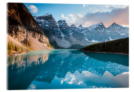 Acrylic glass  Sunset over Moraine lake, Banff, Canada - Matteo Colombo