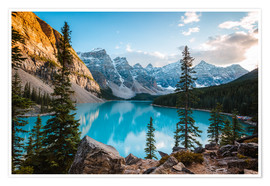 Premium poster Sunset over Moraine lake, Canada