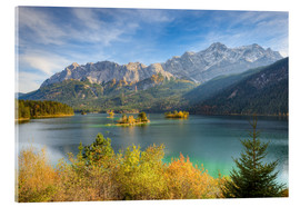 Acrylic glass  Autumn at the Eibsee with a view to the Zugspitze - Michael Valjak