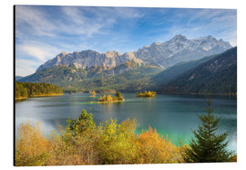 Aluminium print  Autumn at the Eibsee with a view to the Zugspitze - Michael Valjak