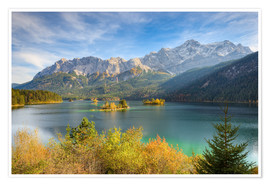Premium poster Autumn at the Eibsee with a view to the Zugspitze