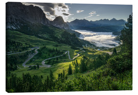 Canvas  Morning ligt at Passo Gardena - Andreas Wonisch