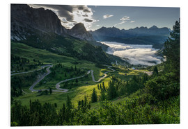 Foam board print  Morning ligt at Passo Gardena - Andreas Wonisch