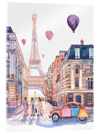 Acrylic glass  Eiffel Tower and Citroen 2CV in Paris - Anastasia Mamoshina