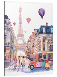 Aluminium print  Eiffel Tower and Citroen 2CV in Paris - Anastasia Mamoshina