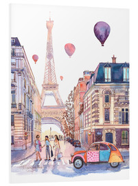 Foam board print  Eiffel Tower and Citroen 2CV in Paris - Anastasia Mamoshina