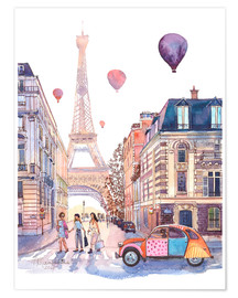 Premium poster  Eiffel Tower and Citroen 2CV in Paris - Anastasia Mamoshina