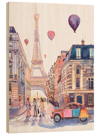Wood print  Eiffel Tower and Citroen 2CV in Paris - Anastasia Mamoshina