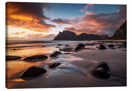 Canvas  Sunset in Lofoten, Norway - Dennis Fischer