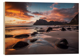 Wood print  Sunset in Lofoten, Norway - Dennis Fischer