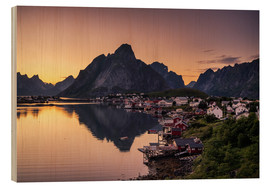 Wood print  Sunset in Reine, Lofoten, Norway - Dennis Fischer