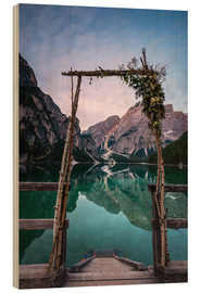 Wood print  Lago di Braies decorated - MUXPIX