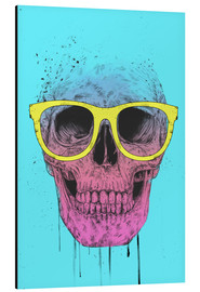 Aluminium print  Pop art skull with glasses - Balazs Solti