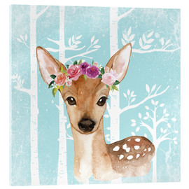 Acrylic glass  Glamorous fawn with blossoms in the blue forest - UtArt
