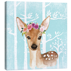 Canvas  Glamorous fawn with blossoms in the blue forest - UtArt