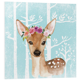 Foam board print  Glamorous fawn with blossoms in the blue forest - UtArt