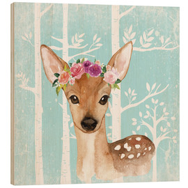 Wood print  Glamorous fawn with blossoms in the blue forest - UtArt